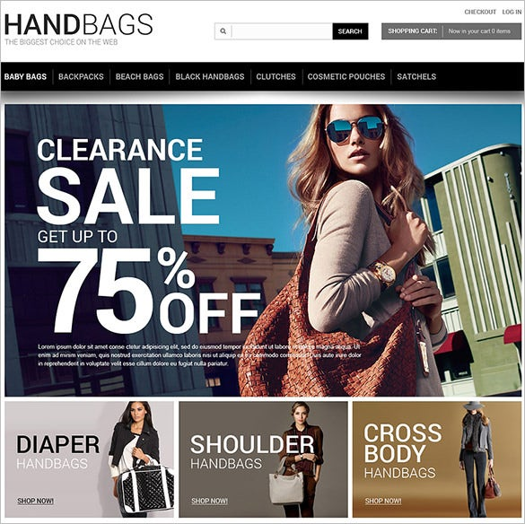 hand bags fashion zencart theme
