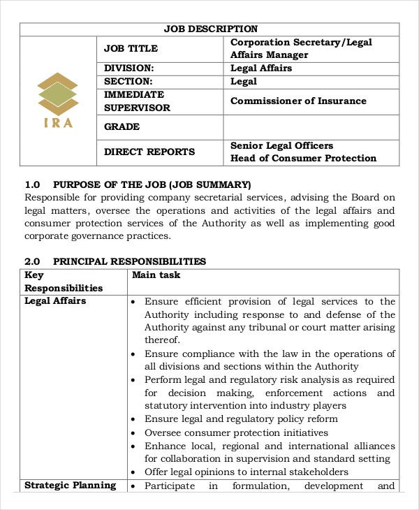 Legal Assistant Job Description   Free Word Pdf Documents