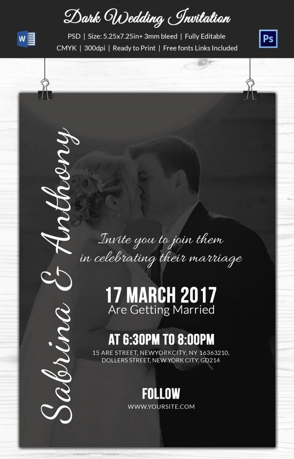 Dark Shaded Wedding Invitation Template