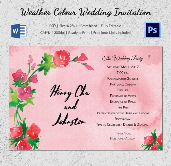 Weather Colour Wedding Invitation