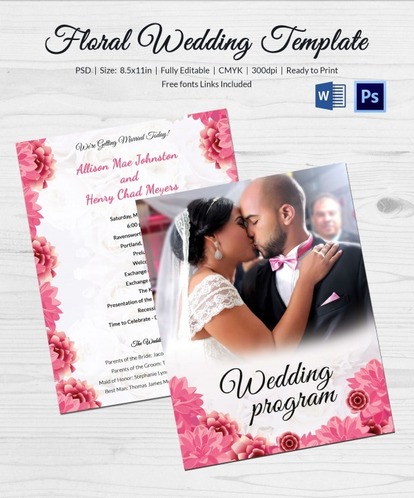 Wedding Program Floral Template