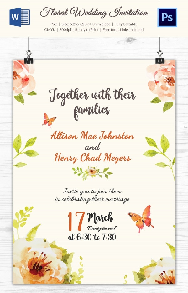 Floral Wedding Program Template Download