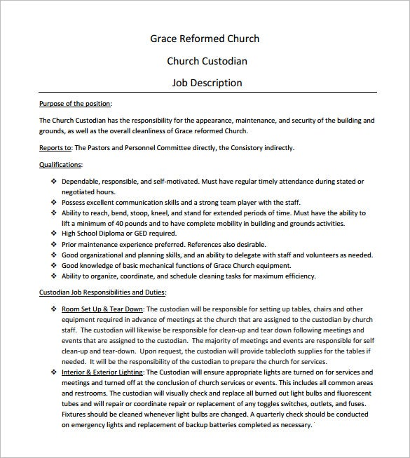 Church Custodian Job Description Free PDF Download