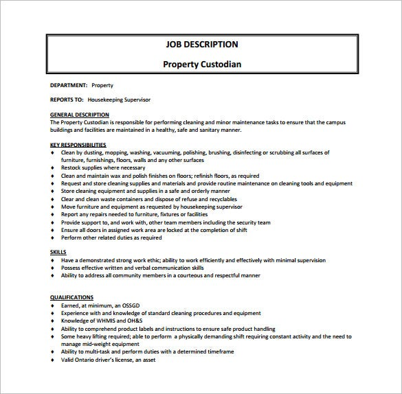 free property custodian job description pdf template download