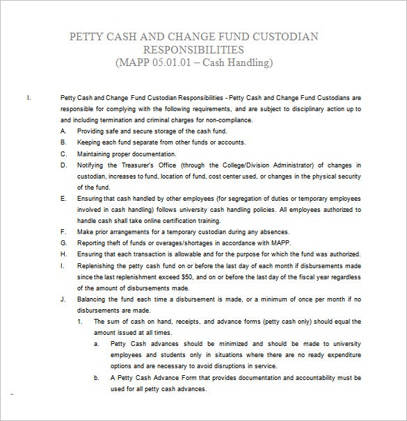 Custodian Job Description For Cash Fund Free Word Download