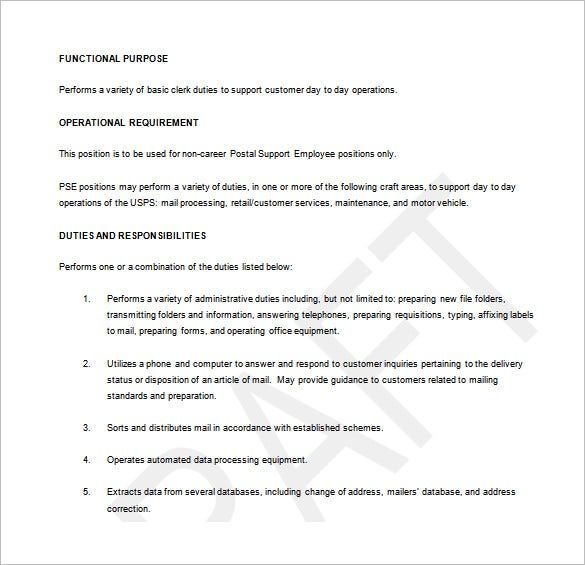 Postal Service Employee Custodian Job Description Free Word Template