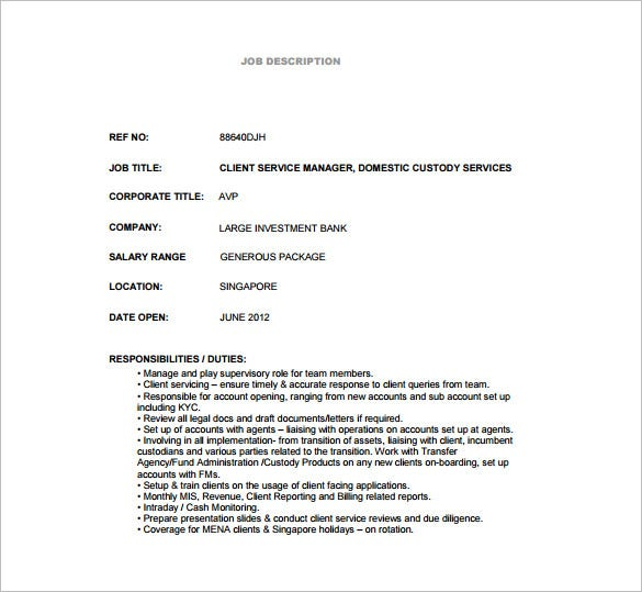 Custodian Job Description For Bank Services Free Pdf Template