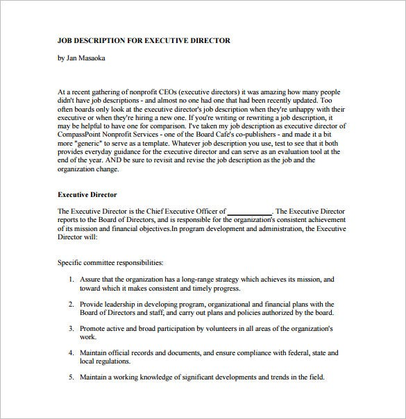 non profit ceo job description pdf template free download