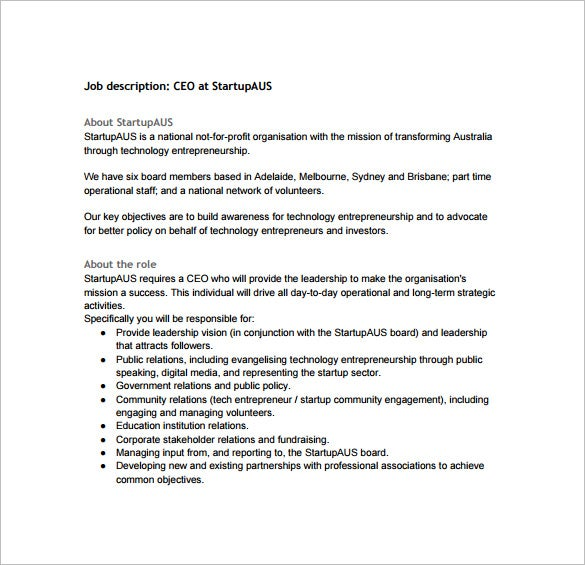Charming Startup CEO Job Description Free PDF Format Download  Chief Executive Officer Job Description