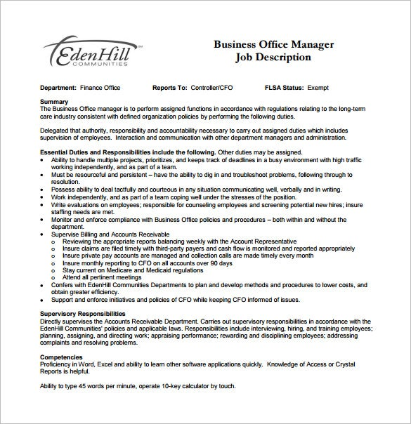office manager job description for business free pdf download