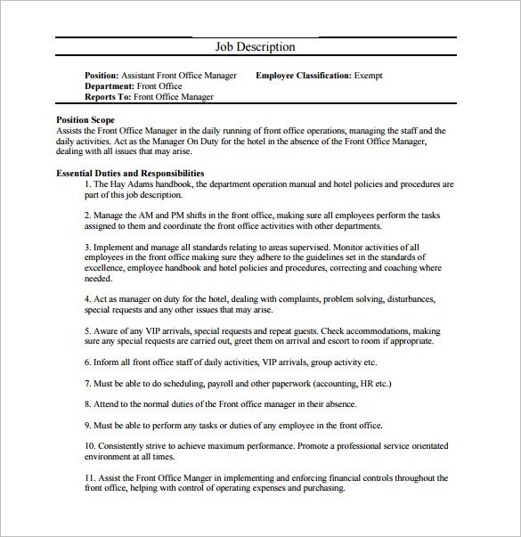 9 office manager job description templates free sample example format download free - Office manager assistant job description ...