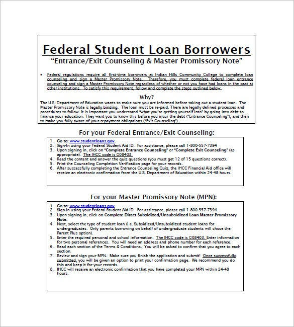 Student Loan Promissory Note Templates  Free Sample Example