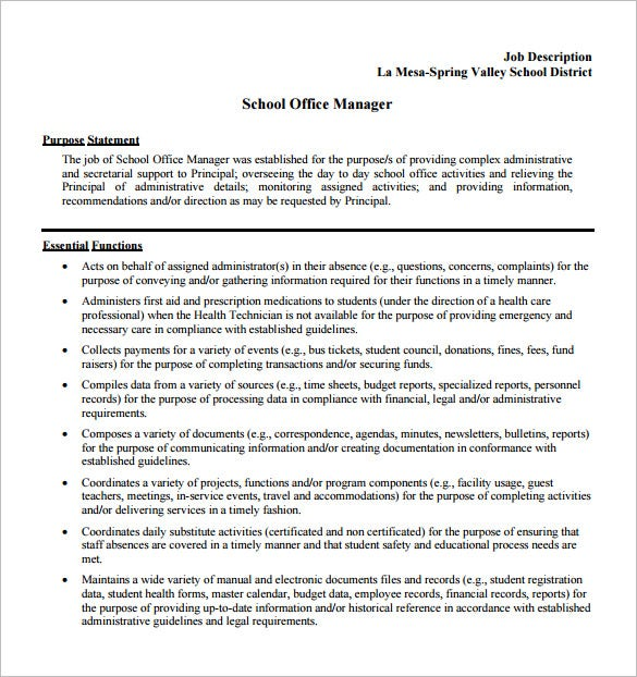 free school office manager job description pdf download