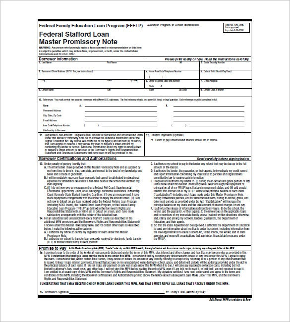 Direct Lender Loans >> Student Loan Promissory Note – 8+Free Word, Excel, PDF Format Download | Free & Premium Templates