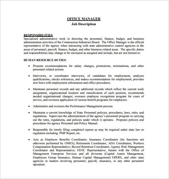 office manager job description template free word - Job Description Of Business Administration