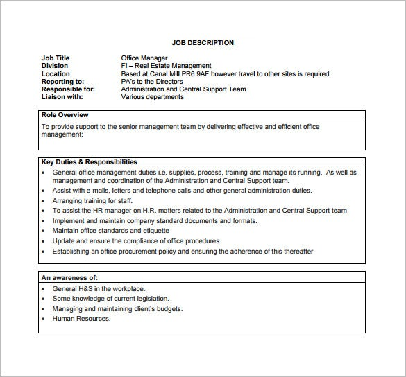 Office Manager Job Description Template   Free Word Pdf