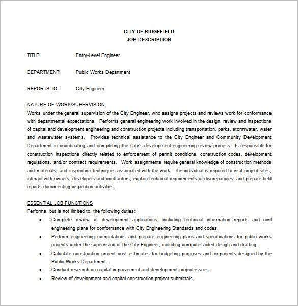 entry level civil engineer job description free word download - Duties Of A Civil Engineer