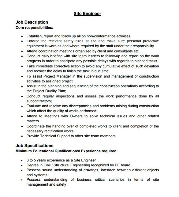 Site Civil Engineer Job Description PDF Format Free Download