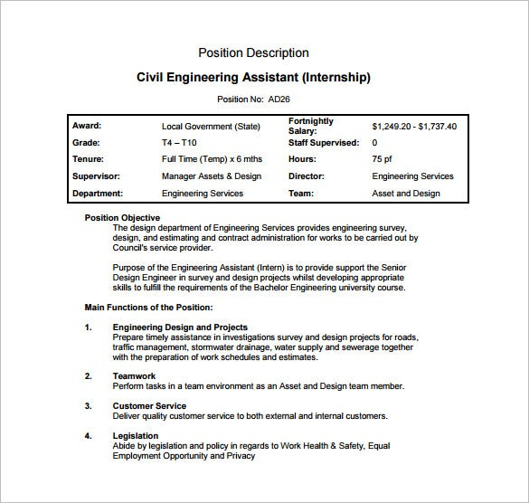 Engineer Job Description   Free Word Pdf Documents