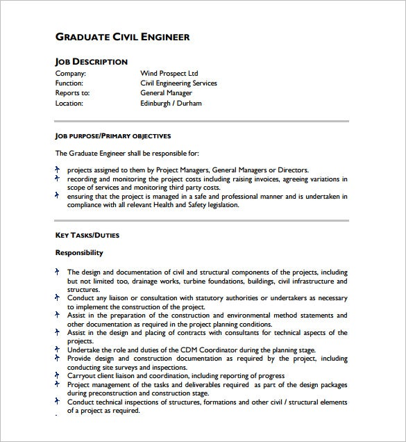 Amazing Graduate Civil Engineer Job Description Example PDF Free Download