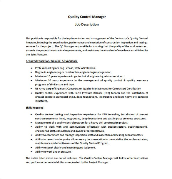 Project Engineer Job Description Free Resume Example For – Quality Control Job Description
