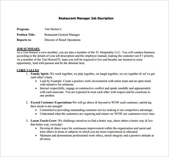 reastaurant general manager job description free pdf template