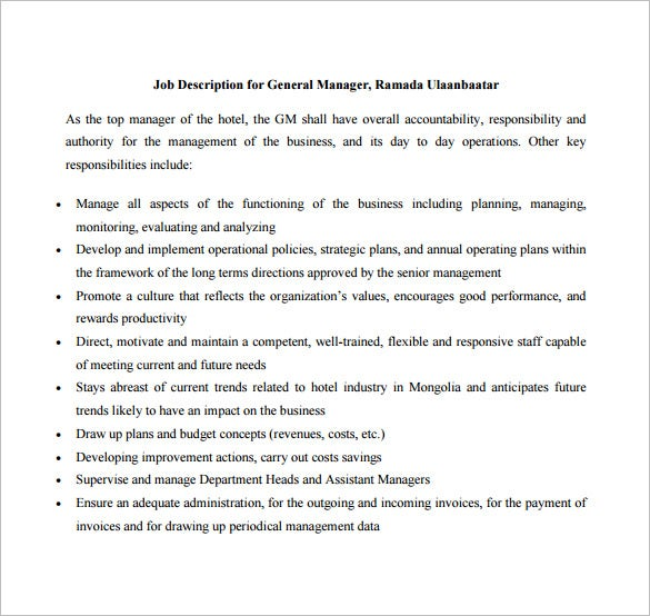General Manager Job Description Template   Free Word Pdf Format