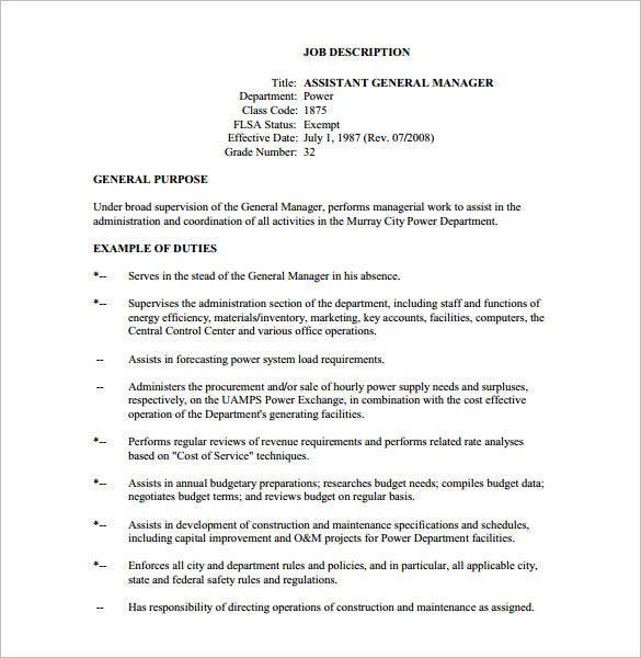 General manager job description template 8 free word pdf format download free premium - Office manager assistant job description ...