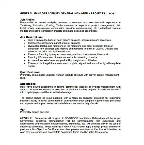 deputy general manager job description free pdf template
