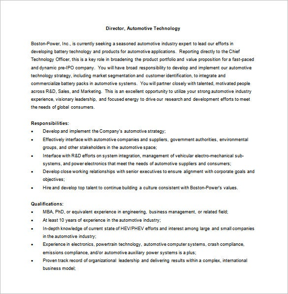 automotive general manager job description word free download