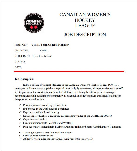 sports team general manager job description free pdf download