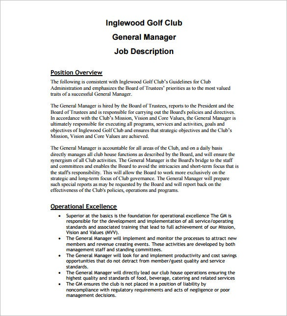 11 general manager job description templates free sample sample general manager job description for golf course free download pronofoot35fo Images