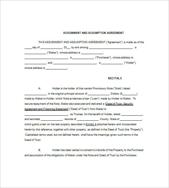 assignment and assumption agreement