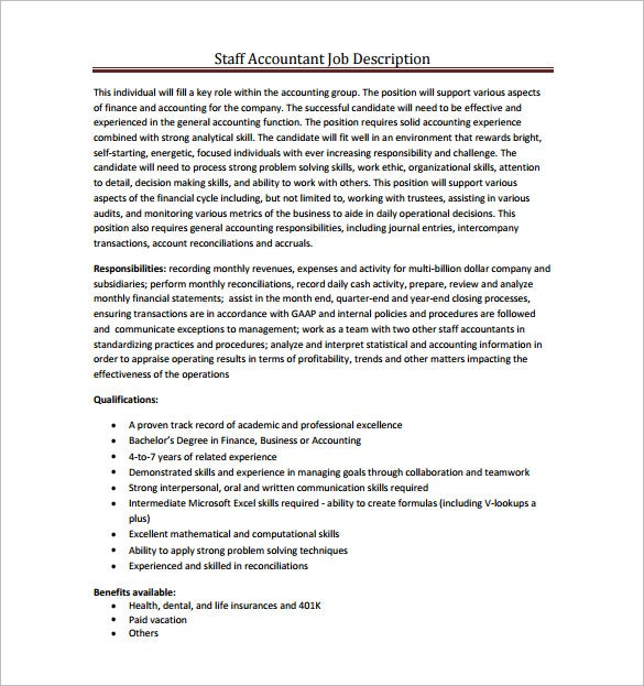 staff accountant job description free pdf template