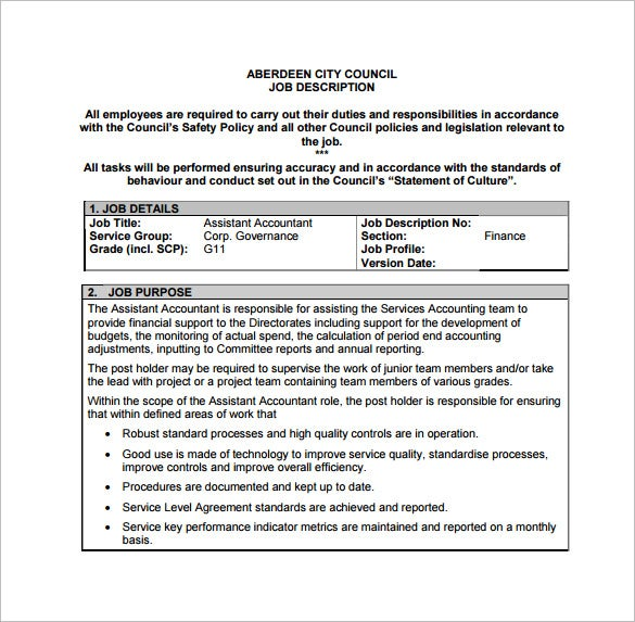 Accountant job description template 9 free word pdf for Free job description template