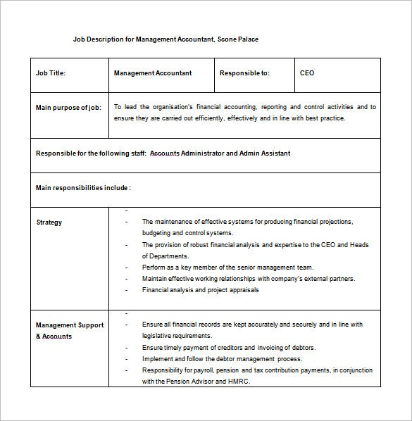 11 Accountant Job Description Templates Free Sample Example – Job Description Form Sample