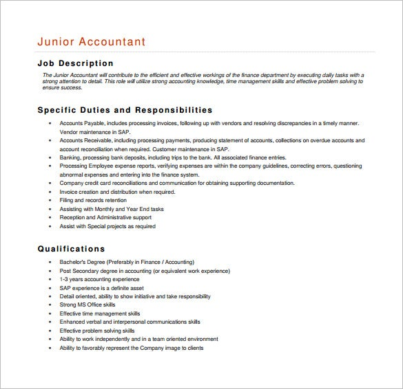 Accountant Job Description Template   Free Word Pdf Format