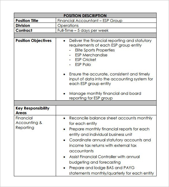 Accountant Job Description Template 9 Free Word PDF Format – Job Description Form Sample