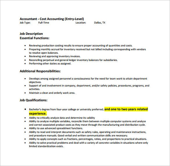 Cake Decorator Job Responsibilities : Accountant Job Description Template - 11+ Free Word, PDF ...
