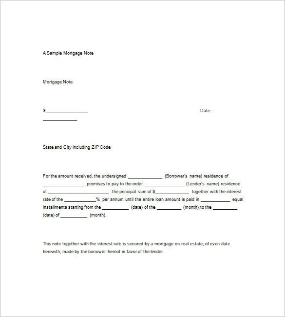 Free Mortgage Promissory Note Template  Promisary Note Template