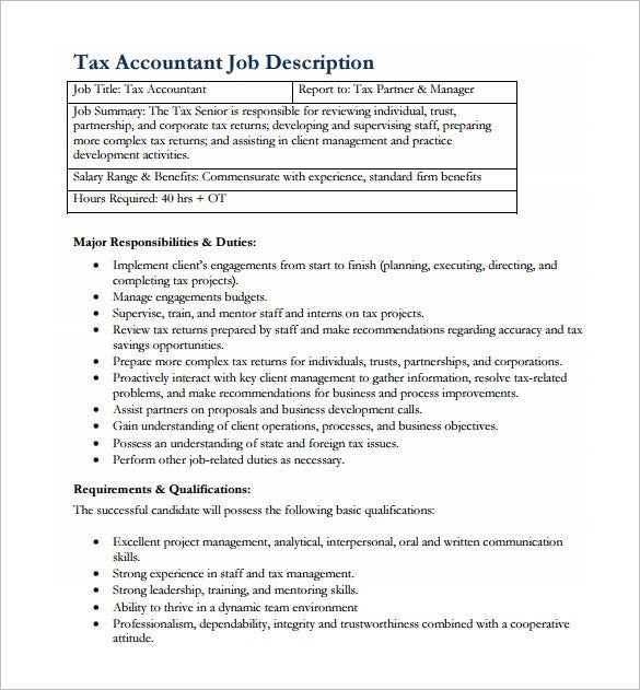 Tax Accountant Job Description Free PDF Template Download Good Ideas