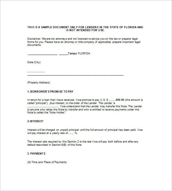 8 Mortgage Promissory Note Free Sample Example Format – Promissary Note Template