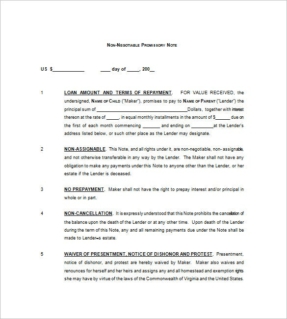 Negotiable Promissory Note – 8+ Free Word, Excel, Pdf Format