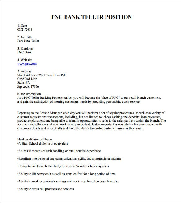 pnc bank teller job description free pdf template