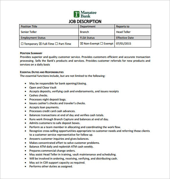 senior bank teller job description pdf free download
