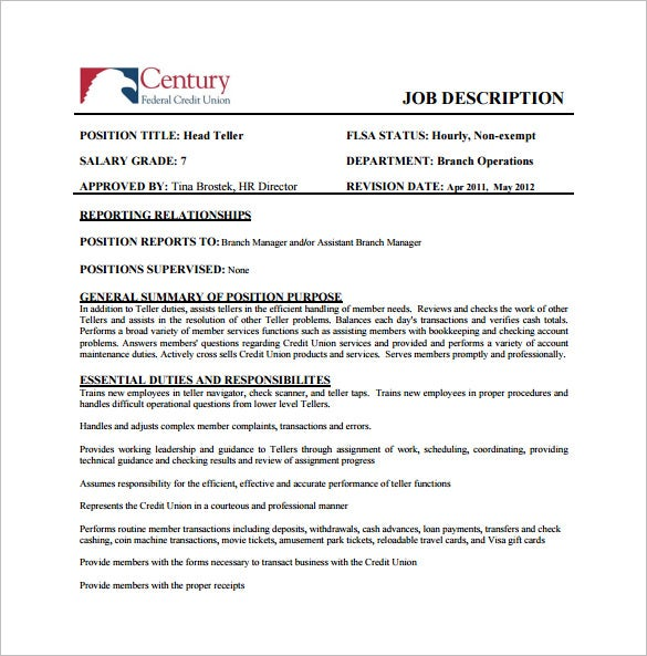 free head bank teller job description pdf template download