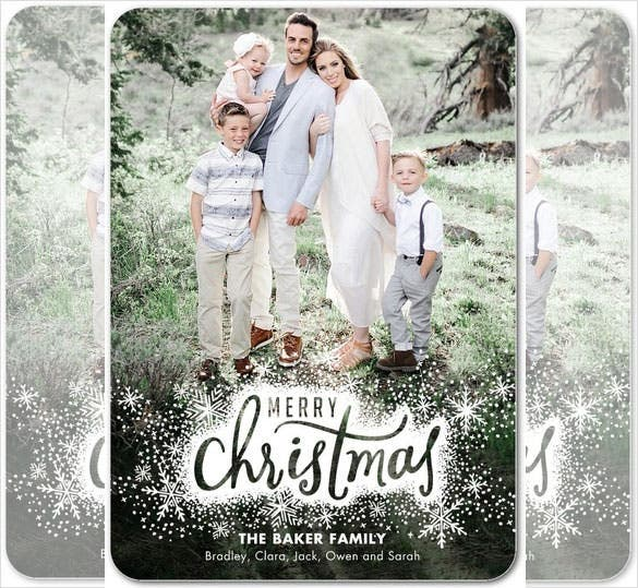 free editable snowy christmas card template - Free Photo Christmas Card Templates