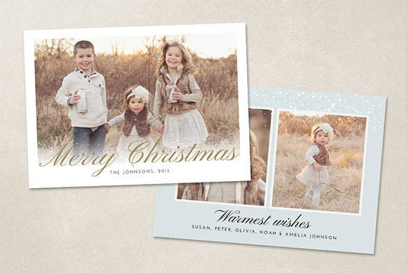 download christmas photo card template psd design