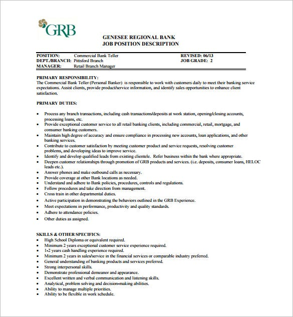 commercial bank teller job description free pdf download
