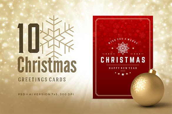 10 Printable Christmas Greeting Card Template
